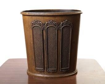 Vintage Faux Bois Wood Plastic Trash Can Waste Basket, Mid Century Modern Wood Grain, Boho Home Decor, Wood Grain/Walnut, Garbage Can