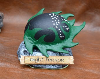 Night Terror  Dragon egg inspired by HtTYD -  hand made sculpt over real egg
