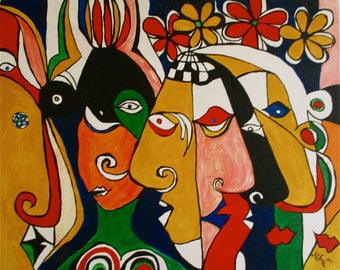 Art modern oil painting outsider art ' Womens Institute 'or 'The Whisperers'by Alfred Halliday Art