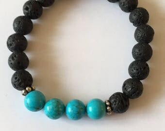 Lava Beads w/ Turquoise Accent Bracelet