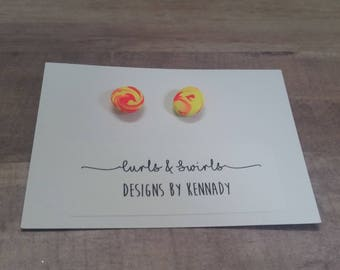 Neon Pink and Yellow Marble Swirl Earrings