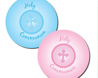 Holy Communion stickers - 30mm - pink or blue