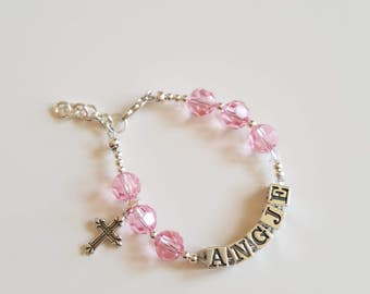 personalized swarovski and sterling silver bracelet