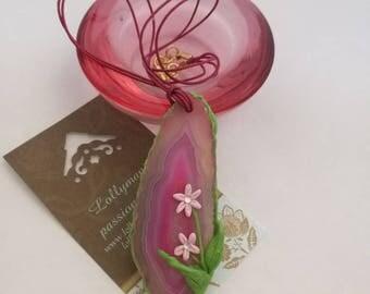 FLOWER AGATE PENDANT