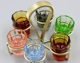 Vintage Retro Mid Century Glass schnapps set of 6 stunning colourful glasses with brass stand caddy barware trinkware collectible