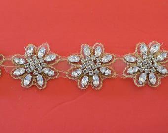 1 yard Rhinestone trim/ Rhinestone Chain/ Formal gown belt/ rhinestone  Swarovski shine silver and gold