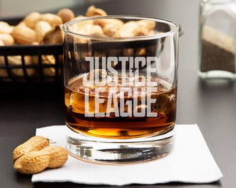 Set of 5 Superhero Whiskey Glasses - Geek Gifts for Him - Whiskey Glasses for Him - Father's Day Gifts - Scotch Rocks Glass - Gifts for Dad