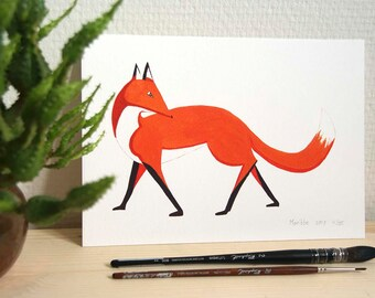 Print // red fox // A5 // watercolor // forest animal // wall art