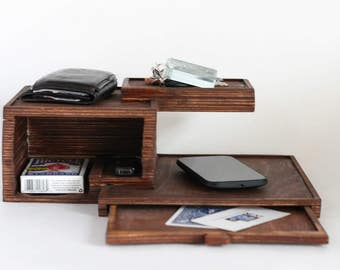 Tiered Desk Organizer//dresser shelves place to put keys wallet phone cards accessories storage stained wood platforms drawers simple holder