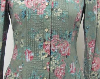 Vtg 70s Green Floral Rose Prairie Peasant Maxi Dress Lace Festival Boho small