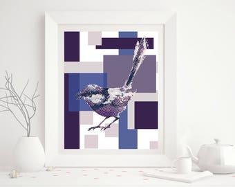 Purple Abstract Bird Art Print- Printable Art - 8x10 - Digital Download