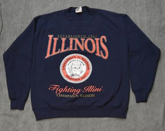 Vintage University of Illinois Fighting Illini Nutmeg Mills Sweatshirt Size - L Large
