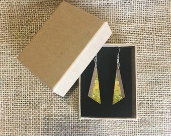 Handmade Sterling Silver, Stabilised Green Maple and Blue Mahoe Lignum Earrings