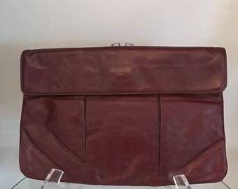 Vintage Letisse oxblood leather clutch