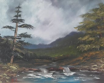 """original oil painting on canvas Bob Ross style """"fishermans falls"""""""