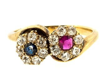 Antique Bypass Ruby & Sapphire Ring
