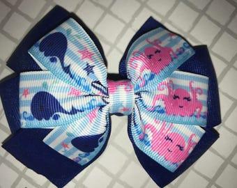 Ocean/ beach hair bow