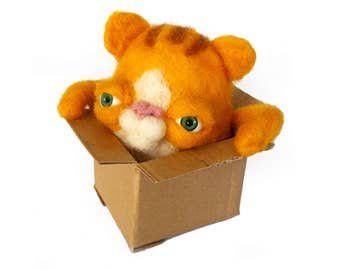 cat in box needlefelting