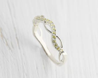 Eternity band, Eternity ring, Peridot ring, Wedding band women, Wedding ring women, Forever ring, Infinity ring, Women silver band