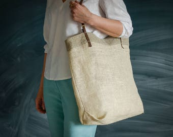 NATURAL HANDMADE BAG  \ Natural bag \ Elegant shoulder bag \ Leather handles bag \ Linen bag \ Beach bag  \ Shopping bag \    Beige bag