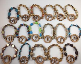 Wooden Initial Bracelets