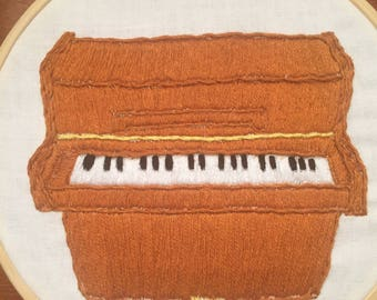 Hand Embroidered Upright Piano Wall Art