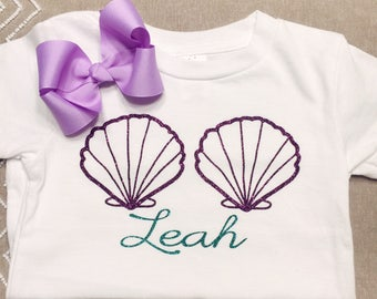 Personalized Mermaid Shirt with matching bow, seashells, glitter