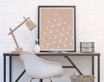 Retro Cube & Dot Pattern Print, Minimalist Poster, Atomic 60s Style Art, Geometric, Graphic Home Decor, Neutral Modern Printable Download