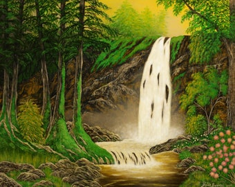 Waterfall Art, Waterfall Painting, Mountain Waterfall, Waterfall Wall Art, Forest Waterfall Painting, Landscape Art, Nature Art, Waterfall