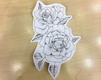 Ink and Dotwork Rose Sticker