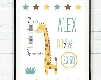 Personalized birth stats art, baby name art, birth announcement wall art, baby birth details, nursery giraffe art, baby birth stats art