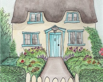 Rose Cottage* A4 Watercolour Print // Fine Art Print // English Cottage with Garden // Mothers Day Gift // Home Decor Print