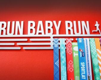 """Medal hanger display RUN BABY RUN - stainless steel - 450mm / 17.7"""" wide"""