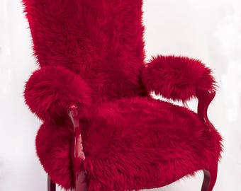 Red lacquered armchair - Sheep & cow skin oil