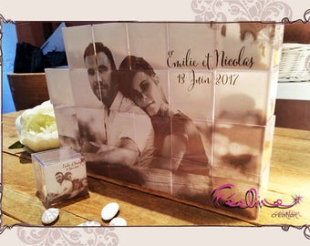 Puzzle's we! box original candle shaped puzzle to offer for your weddings or baptisms and customize!