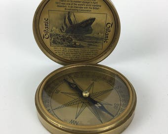 Large Titanic brass reproduction compass