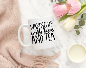 Black and White Tea Cup, Christian Tea Cup, Gift for Her, Christmas Gift for Mom, Christmas Tea Cup, Christmas Gift,