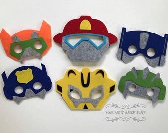 SET OF 6 Rescue Bots Party Masks, Rescue Bots Party, Rescue Bots Birthday, Rescue Bots Party Decorations, Rescue Bots Party Favors