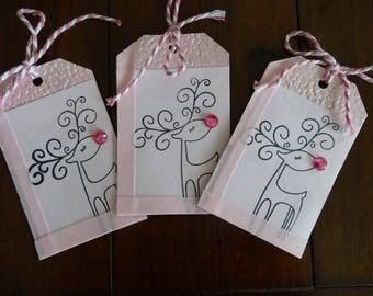 Cute Bashful Reindeer Powder Pink Gift Tags