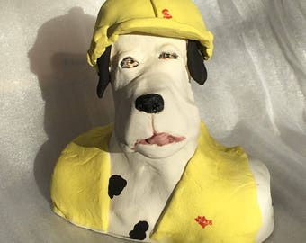 Here's Teddy a stoneware ceramic handmade cute whimsical dog by Jacquie Cross