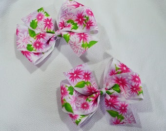 Pink Floral Baby Bow Pair