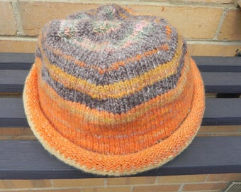 Knitted winter hat, hand dyed, spun and knitted