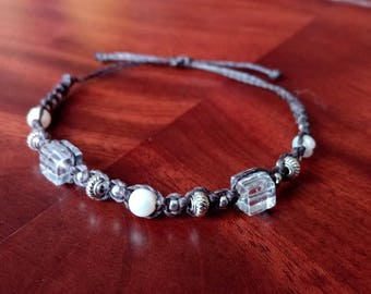 Rock crystal bracelet with freshwater Pearl Crystal bracelet