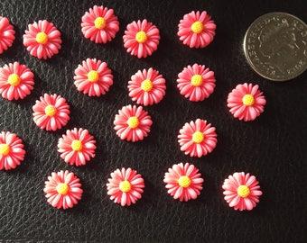 Set of 20 resin flatback flowers