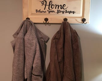 Home Where Your Story Begins . Wall Shelf Sign . Repurpoused , With Hooks
