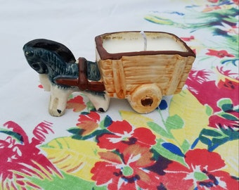 Vintage ceramic horse and cart candle