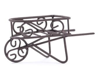 "Rustic Metal Wheelbarrow - 3"" x 1.5"" x 1.5"" - Miniature Fairy Garden Dollhouse"