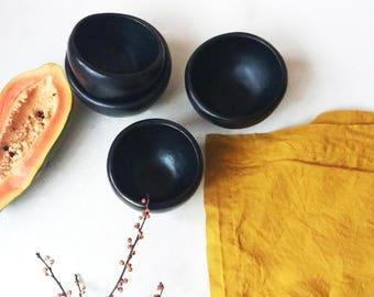 Black pottery bowls