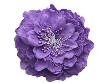 2 Purple Big Lace Flower Hair Clips Brooches 10cm