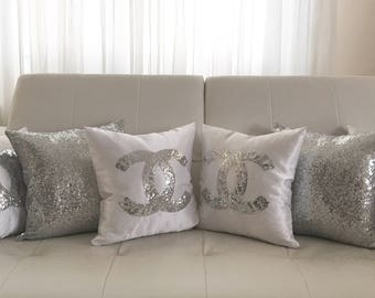 Chanel Pillow, Wedding Gift ,Bedroom,Sequins Pillow, Silver Gold Black White Sequin Pillow Cover, Silver Decorative Pillow, Chanel Pillow